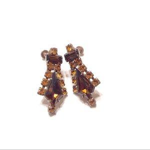 Vintage Topaz Rhinestone Crystal Earrings Screw Bk
